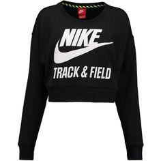 Nike Sportswear Sweatshirt / white ($67) ❤ liked on Polyvore featuring tops, hoodies, sweatshirts, shirts, sweaters, jumpers, black, black sweatshirt, black crewneck sweatshirt and long sleeve tops