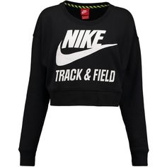 Nike Sportswear Sweatshirt / white ($65) ❤ liked on Polyvore featuring tops, hoodies, sweatshirts, shirts, sweaters, jumpers, black, crewneck sweatshirt, long sleeve tops and white cotton shirt