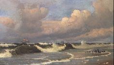 Maleri (1878) af Christian Blache (1838-1920) - Marine med stærk brænding.