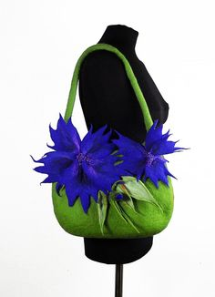 Felted Bag CORNFLOWER Handbag Art Purse Blue Olive wild