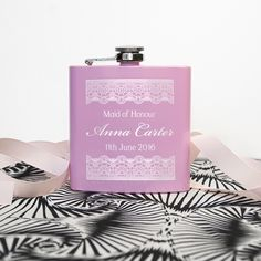 Thank You For Being My Maid Of Honour Personalised Hip Flask.  Designed and personalised by Treat Gifts, London.