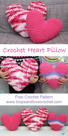 These heart pillows are so soft and squishy! You\'ll just love how they feel! They are perfect for a throw pillow on a chair or bed, or for a little one to read their head on while reading, or cuddle with! Crochet Pillow Pattern, Bag Crochet, Crochet Cushions, Love Crochet, Crochet Gifts, Beautiful Crochet, Crochet Toys, Crochet Baby, Crochet Patterns