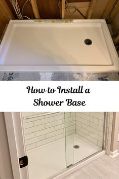 How to Install a Shower Base Learn how to install a shower base and update your shower. Let us help you DIY remodel or update your bathroom. Tub To Shower Remodel, Diy Bathroom Remodel, Bath Remodel, Bathroom Renovations, Bathroom Ideas, Bathroom Organization, Restroom Remodel, Basement Remodeling, Bathroom Designs