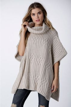 With Love Knitted Poncho in Ivory | Necessary Clothing