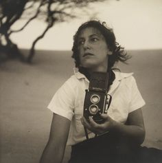 Olive Cotton, holding camera from Camping trips on Culburra Beach by Max Dupain and Olive Cotton The Photographer's Shadow' Ellen Von Unwerth, Vivian Maier, Annie Leibovitz, Camera Photography, Street Photography, Landscape Photography, Photography Ideas, Portrait Photography, Nature Photography