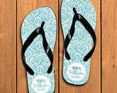 Personalized Flip Flops, Monogrammed, Sorority Gift, Graduation Gift, Bridal Party Gift, Bridesmaid, Love My Lace Seafoam 105FF-3