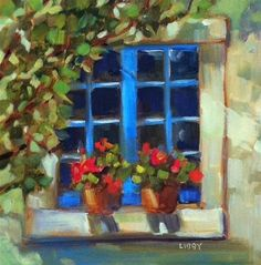 """Blue Window"" - Original Fine Art for Sale - © Libby Anderson"