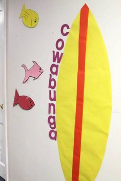 Surf Shack decorations for hallways. Use simple fish patterns along with a surfboard shape to create a fun hallway look and feel. cokesburyvbs.com