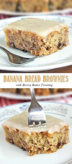Bread Brownies The world needs to know. The sweet taste of banana bread brownies topped with a brown butter frosting. The sweet taste of banana bread brownies topped with a brown butter frosting. No Bake Desserts, Just Desserts, Delicious Desserts, Dessert Recipes, Yummy Food, Baking Desserts, Cake Baking, Cake Recipes, Banana Bread Brownies