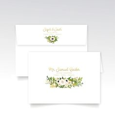 The JAYLA . Address Printing & Envelopes with Return Address Gold Calligraphy White Rose Poppy Anemone Eucalyptus Leaf Garland Fern Magnolia by BuffyWeddings on Etsy