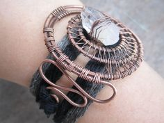 Copper Spiral Wire Wrapped Bracelet, Adjudtable Wrap Bracelet, Crystal Quartz, Bohemian, Ombre, Gray and Black, Handmade Wire Jewelry