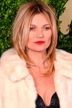 Kate Moss with a mussed up medium-length haircut