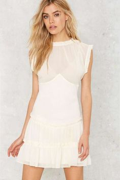 Nasty Gal Crew Intentions Sheer Dress - Festival Shop | Best Sellers | Day | Fit-n-Flare | Summer Whites