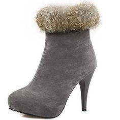 VogueZone009 Womens HighHeels Solid Zipper Frosted Round Closed Toe Boots Gray 39 >>> You can get more details by clicking on the image.(This is an Amazon affiliate link and I receive a commission for the sales)