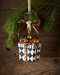 Harlequin Present Christmas Ornament by MacKenzie-Childs at Horchow. #HORCHOWHOLIDAY14