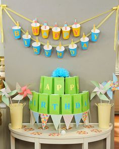 birthday party decorations... Hanging cups!!