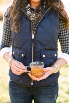 J. Crew vest layered with sweater, button up, and statement necklace is all together a  #preppy #classy and #feminine look for everyday occasions!