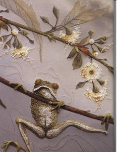 cute green tree frog & gum blossoms