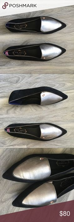 Ted baker black silver flats 6 NWT Ted baker black silver pointed toe flats 6 NWT. Will come without box. Does have marks and debris from trying on. All flaws in pics. Gorgeous flats. Leather upper lining and sock. Please inspect photos carefully. Ted Baker Shoes Flats & Loafers
