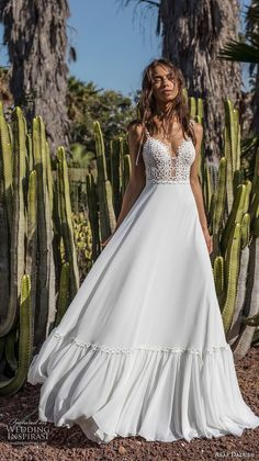 asaf dadush 2018 bridal sleeveless spaghetti strap deep plunging sweetheart neckline heavily embellished bodice bohemian a line wedding dress open back sweep train (8) mv -- Asaf Dadush 2018 Wedding Dresses