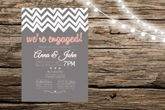 Grey & Orange Engagement Invitation by KrossAndCo on Etsy