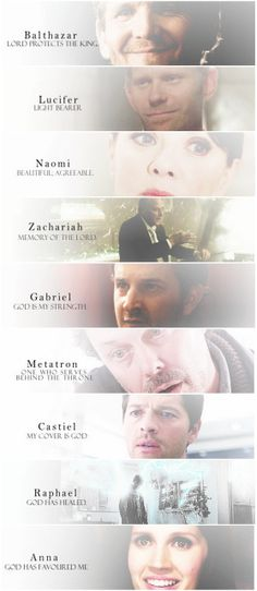 [gifset] Angels of Supernatural and their name meanings.