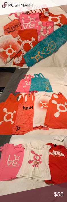 Bundle of 9 Orangetheory Tops they were used a few times, but they still in great conditions. i bought each top for $24 + tax. GREAT DEAL!! PRICE IS FIRM!! orangetheory Tops
