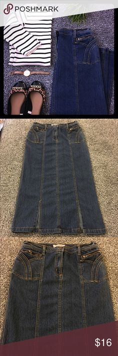 Denim maxi skirt - super cute and medium wash! Super cute Jean skirt with great details! Tulip style front pockets (functional) & 2 small zippered ones that are usable also. 2 small splits on the front (almost 8 in) Could easily be fixed but I never got to it. This is a staple for any girls closet. I'm thinking the sizing might be Jr but I'm not certain. Says large 14/16 but I'm usually closer to an 8 and it's not super huge. Please consult measurements below: waist-16 in. flat. Hips-19.5…