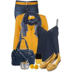 Yellow and Blue, created by immacherry on Polyvore
