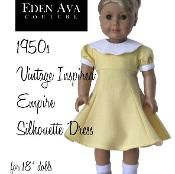 club dresses, dress patterns, doll clothes patterns, 1950s dresses, eden ava, silhouett dress, vintage inspired, american girls, sewing patterns
