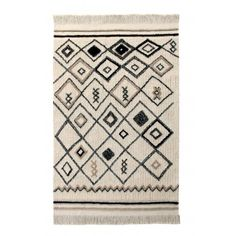 Bring your interior to life with this Bereber Ethnic rug from Lorena Canals. Enhanced with an abstract rhombus design in black and linen tones, this beautifully handmade rug will make an impact in any Lorena Canals Rugs, Rug Size Guide, Tapis Design, Washable Rugs, Rug Material, Handmade Rugs, Beige, Deco, Abstract