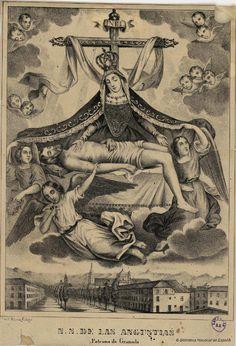 N.S. de las Angustias Patrona de Granada. Mitjana, Francisco s. XIX — Grabado — 1801-1900?