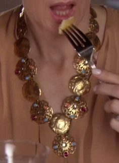 Lily van der Woodsen's Brass Jeweled Necklace from Gossip Girl: Salon of the Dead #ShopTheShows #curvio
