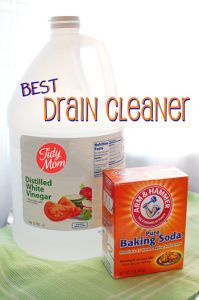 Unclog a drain  Pour 3/4-1 cup of baking soda in the drain.   Pour 1/2 cup vinegar in the drain and immediately cover the drain (I use a plug or set a plate over it –Let sit and work for about 30 mins Remove the cover and let hot water run thru the pipes for  2 mins.   for really tough clogs you may need to repeat
