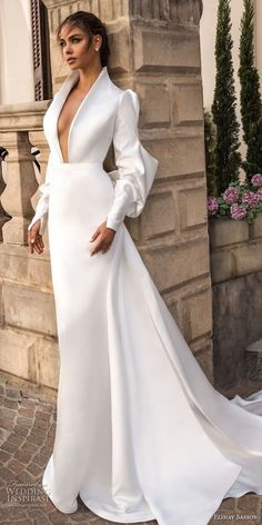 Literally my ideal wedding dress! elihav sasson 2018 capsule bridal long mutton sleeves queen anne plunging v neck simple clean modern sheath wedding dress keyhole back long train mv -- Elihav Sasson 2018 Royalty Girl Capsule Collection Wedding Dresses 2018, Bridal Dresses, Prom Dresses, Formal Dresses, Dress Wedding, Wedding Bride, Wedding Flowers, Lace Wedding, Silk Wedding Gowns
