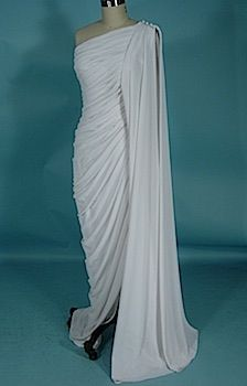 """c. late 1970's/early 1980's ESTEVEZ White Crepe """"Grecian"""" Column One-Shouldered Ruched Gown Worn by Cyd Charisse to an Event with Husband, Tony Martin! $2,150.00"""