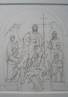 Byzantine Art, Ceri, Drawings, Drawing Drawing