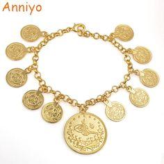Anniyo Length Coin Charm Bracelet for Women Gold Color Kurdish Chain Bangle Arab Jewelry Middle East/African Fashion Bracelets, Bangle Bracelets, Bangles, Shape Patterns, Coins, Gold Necklace, Charmed, Kurdistan, Middle East
