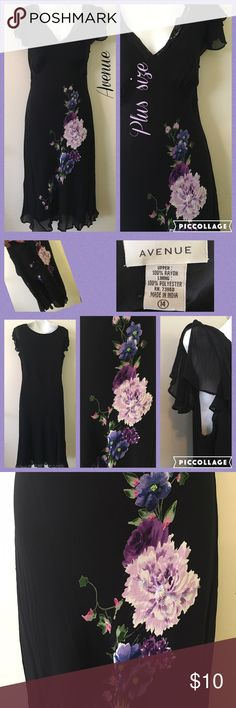 Romantic Avenue Plus Size Dress Preloved pull over dress, fully lined, butterfly sleeves and beaded floral accents. Lovely lace V Neckline. Please Lmk if you need measurements. Thanks. ❌No Trades❌ Avenue Dresses Midi