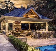 Amazing Outdoor Design Ideas with a Gazebo And Cabana – Outdoor And Patio Ideas, Designs and DIY Plans. Outdoor Kitchen Patio, Outdoor Kitchen Design, Outdoor Rooms, Outdoor Living, Outside Living, Outdoor Kitchens, Backyard Pavilion, Outdoor Pavilion, Backyard Patio Designs