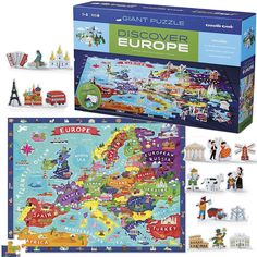 Discover Europe 100 US Map Puzzle & Play Set.  Manufactured by Crocodile Creek. Recommended for 5 years, 6 years, 7 years, 8 years.