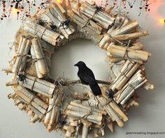 Edgar Allen Poe's Raven Halloween wreath.