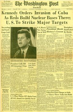 The Cuban Missile Crisis was caused by the US because they were concerned with the amount of communists in Cuba. The US sent missiles over to protect Cuba, which caused a problem with the USSR. Newspaper Headlines, Old Newspaper, Newspaper Article, Cuban Missle Crisis, Historia Universal, Photo Vintage, Jfk Jr, Interesting History, Cold War