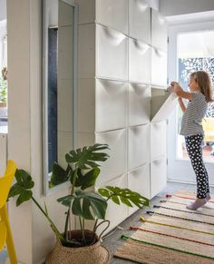 Stauraum für kleine Räume - Maximizing Storage in your hallway with IKEA TRONES in white. Ikea Hallway, Hallway Storage, Ikea Storage, Stair Storage, Hidden Storage, Storage Spaces, Storage Ideas, Wall Storage, Extra Storage