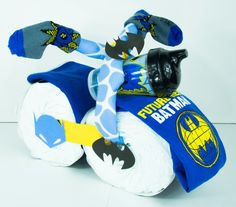 Blue Batman Diaper Cake Motorcycle by PracticallyFab on Etsy
