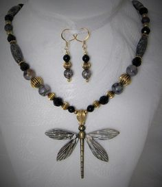 Marbled Agate and Mother of Pearl Dragonfly by uniquebysuzy