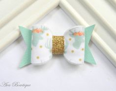 Peach Bow Hair Clip Bow Hair Clip Glitter Bow by AvaBowtiquee