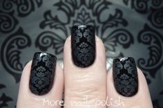 This is matte top coat stamped over black; not 2 polishes! Damask stamping from More Nail Polish