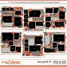 Cindy's Layered Templates - Six Pack This is Fall by Cindy Schneider Halloween Themes, Fall Halloween, Scrapbook Templates, Scrapbook Layouts, Photo Drop, Drop Shadow, Six Packs, Layout Template, Autumn Theme