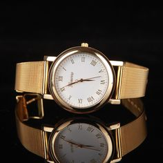 Womens-Fashion-Quartz-Gold-Classic-Stainless-Steel-Excellent-Luxury-Wrist-Watch Gifts For Boys, Designs To Draw, Omega Watch, Quartz, Stainless Steel, Watches, Band, Luxury, Metal